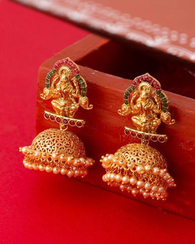 Imitation Temple Lakshmi Jhumka