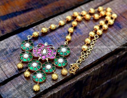 92.5 Silver Gold Plated Antique Necklace