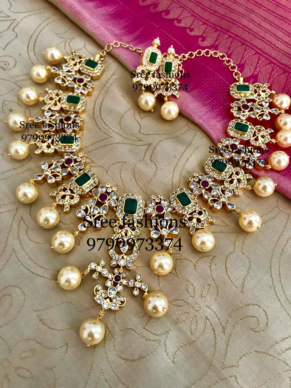 Gold Plated Emerald Pearl Necklace Set South India Jewels