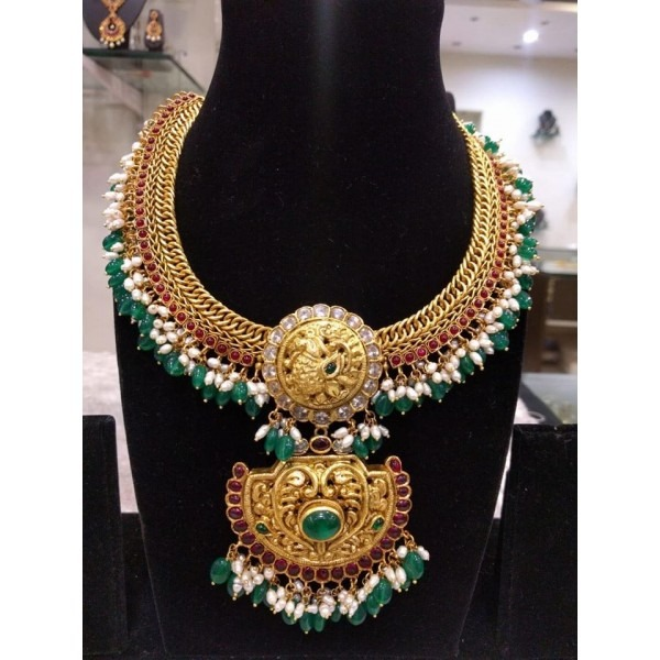 Temple Necklace With Pearls & Emeralds