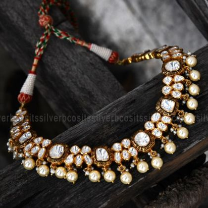 White Kundan Stone Necklace