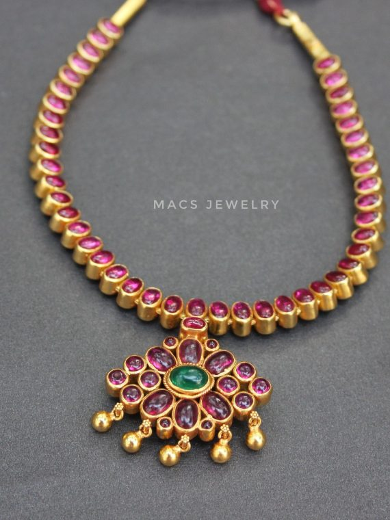 Gold Plated Ruby Attigai Necklace