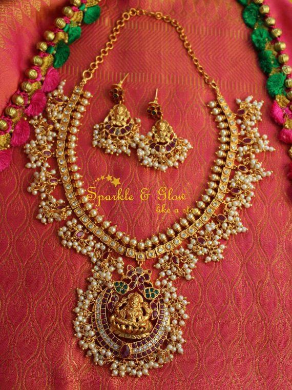 Imitation-Temple-Guttapusalu-Necklace-&-Earrings