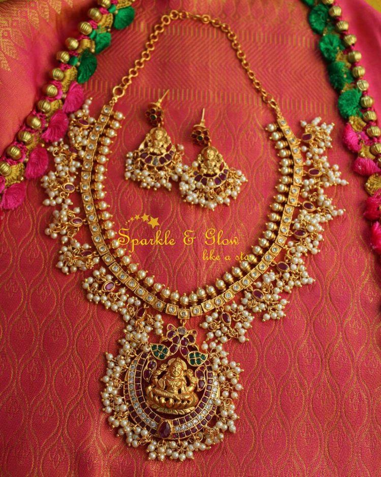 Imitation Temple Guttapusalu Necklace & Earrings