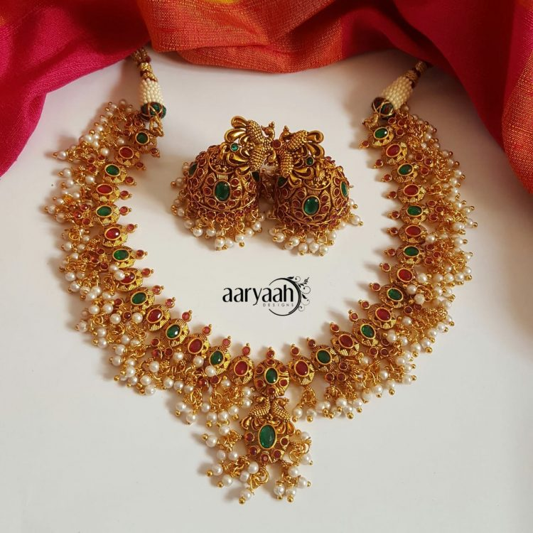 Multicolor Guttapusalu Necklace Set