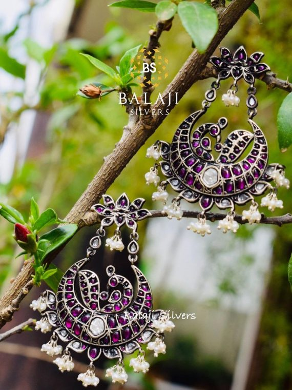 Pure Silver Ruby Chandbali