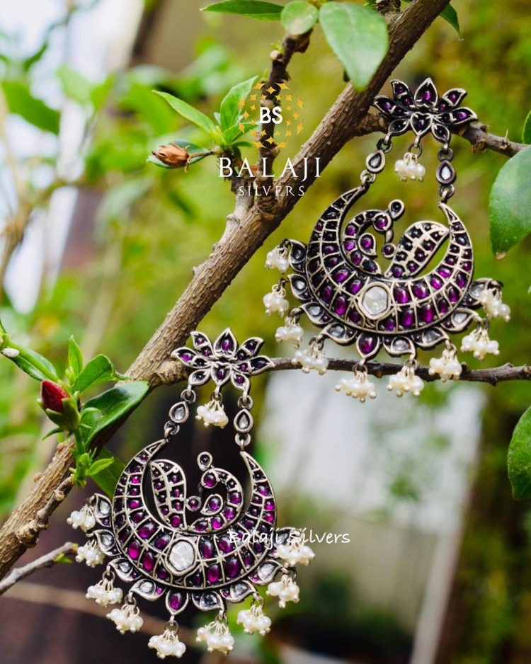 Pure Silver Ruby Chandbali