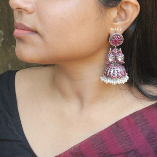 Silver-Jhumka-With-Pink-Stones-&-Pearls