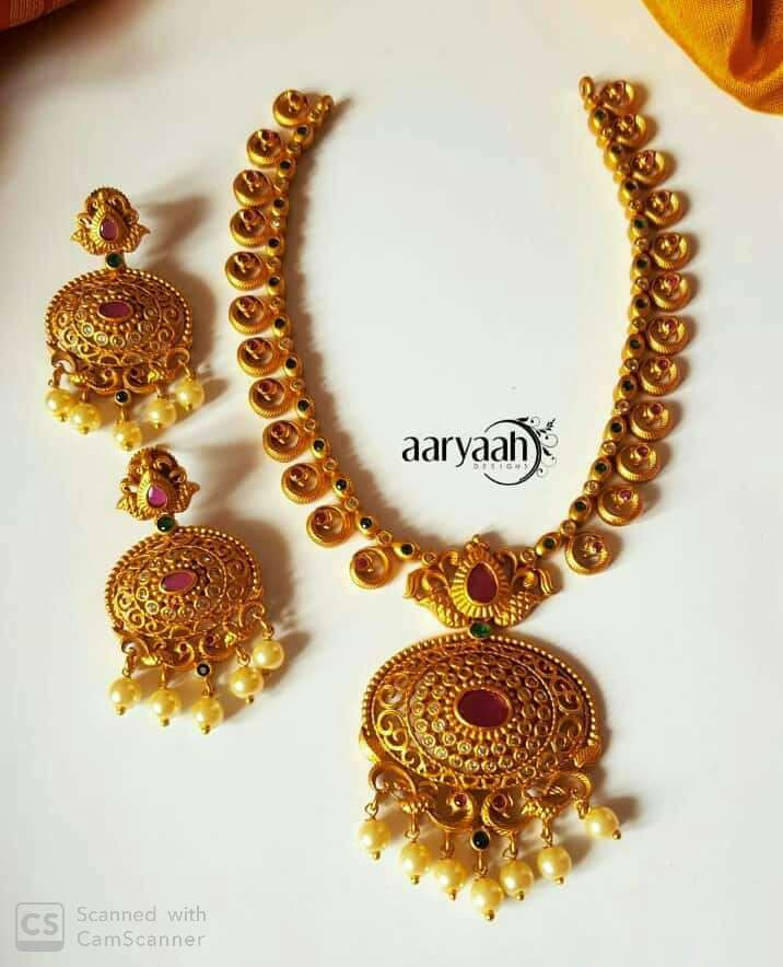 Elegant Matte Finish Gold Necklace