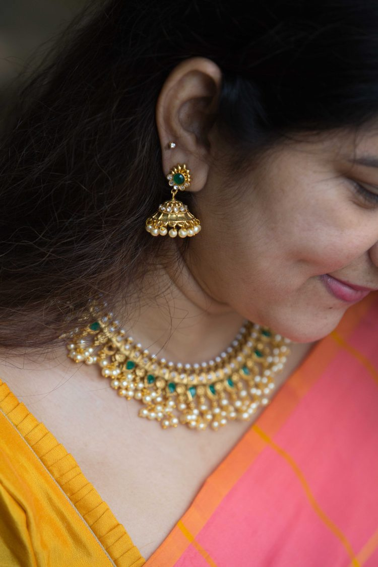 Imitation Green Guttapusalu Necklace Set