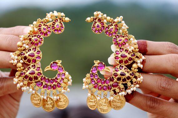 Alluring Peacock Designer Ear Cuff Earrings-03