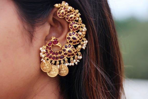 Alluring Peacock Designer Ear Cuff Earrings-04
