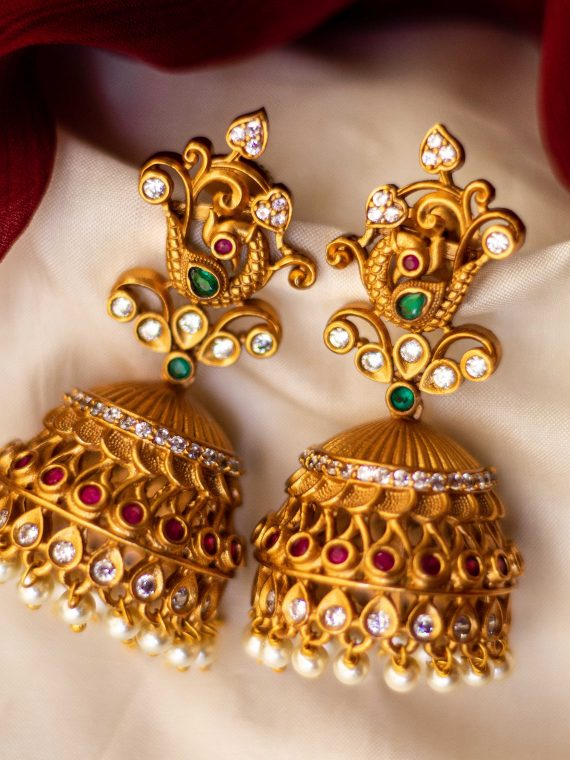 KARIE0012_Antique_Matt_Finish_Stone_Jhumka