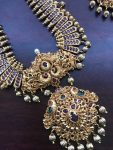 Grand Real Kempu Stone Pendant Necklace Set with earrings-02