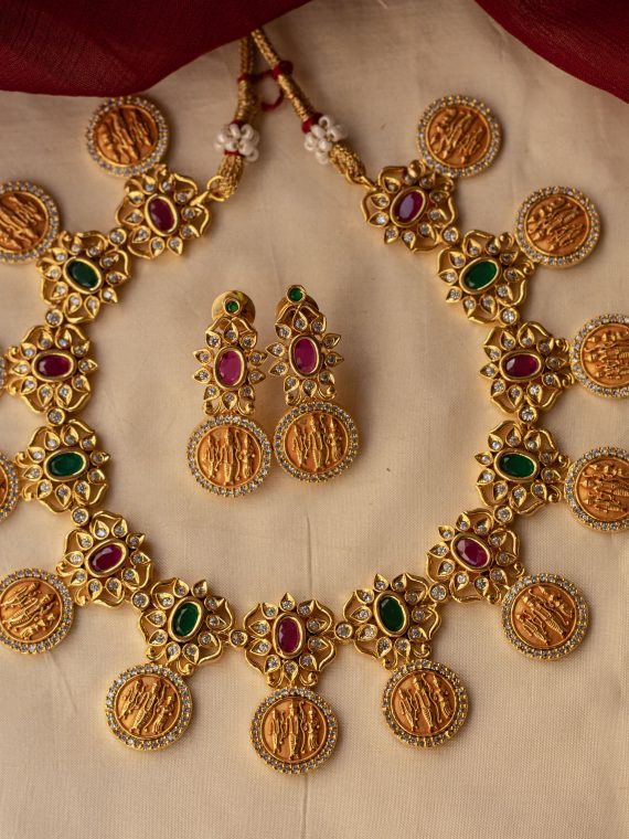 Matt Finish Ram Parivar Necklace & Earrings-01