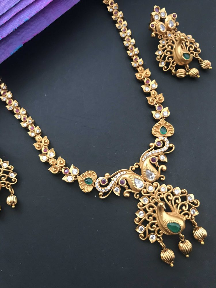 Peacock Pendant Multistone Necklace Set-01