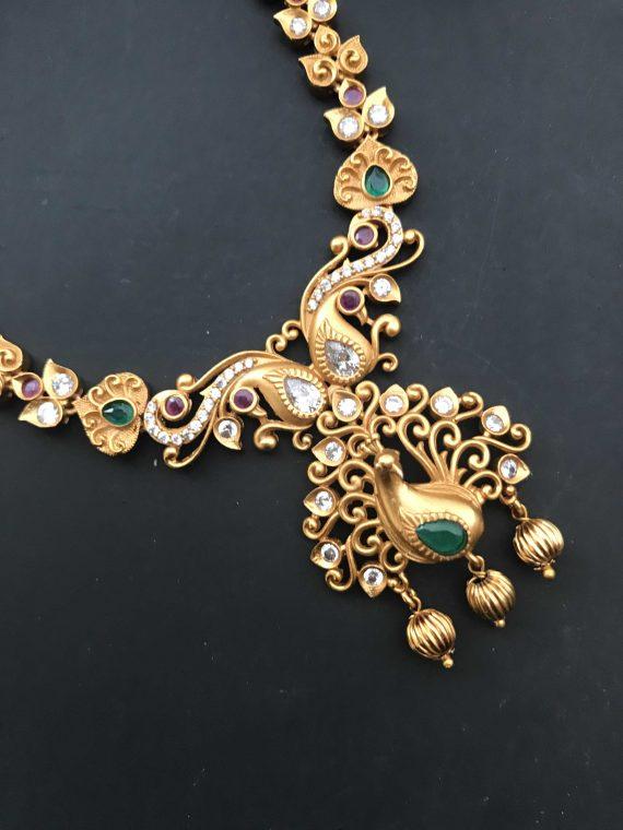Peacock Pendant Multistone Necklace Set-01