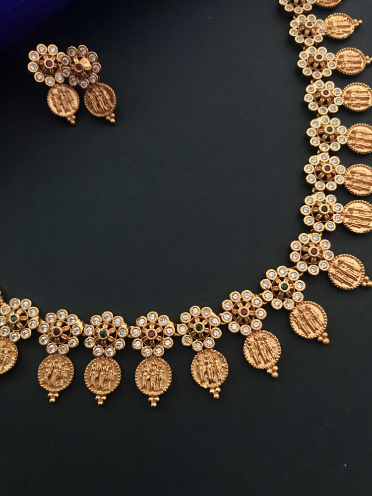 Ram Parivar Coin Floral Stone Necklace Set-01