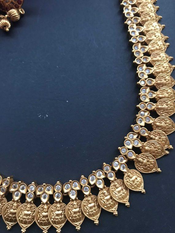 Swan Mogappu Laxmi Coin White Stone Necklace Set-01