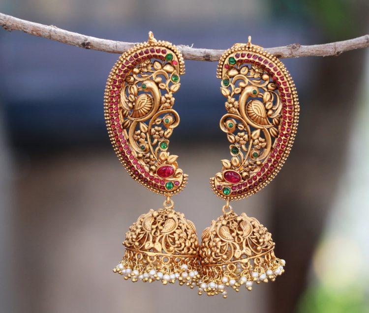 Antique Ear Cuff Jhumka Earrings-01