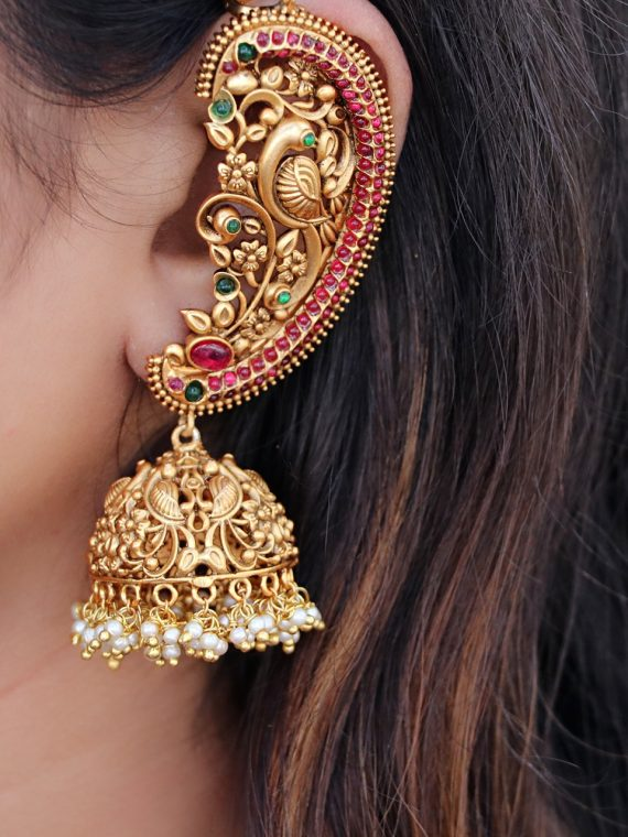 Antique Ear Cuff Jhumka Earrings-02