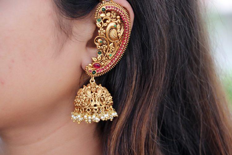 Antique Ear Cuff Jhumka Earrings-02