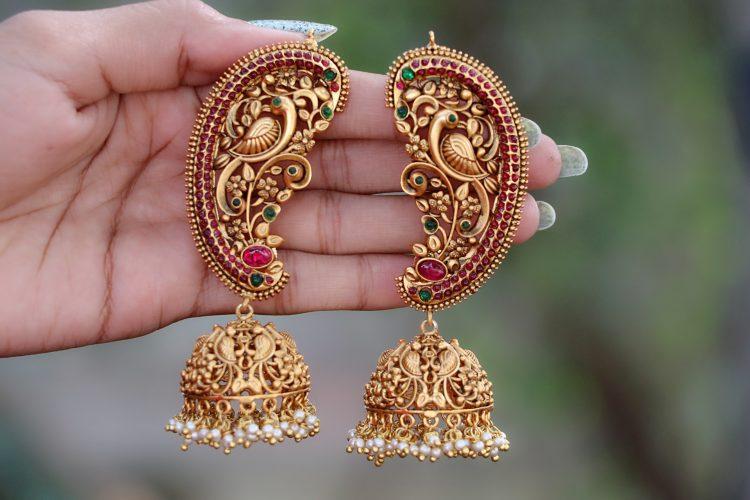 Antique Ear Cuff Jhumka Earrings-03