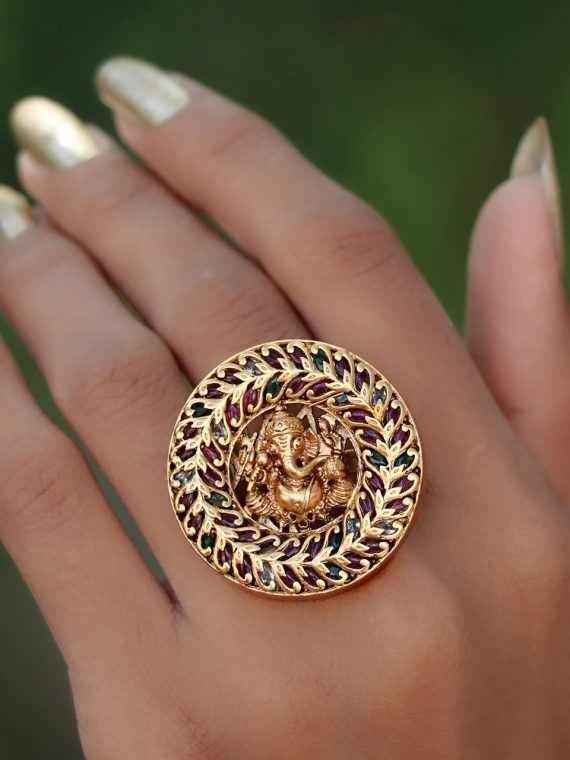 Ganesha motif adjustable finger rings -01