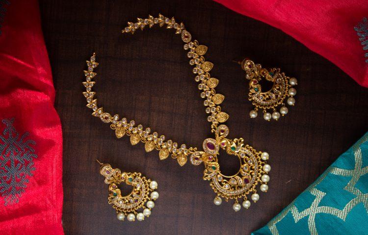 Imitation Cutwork Laxmi Necklace
