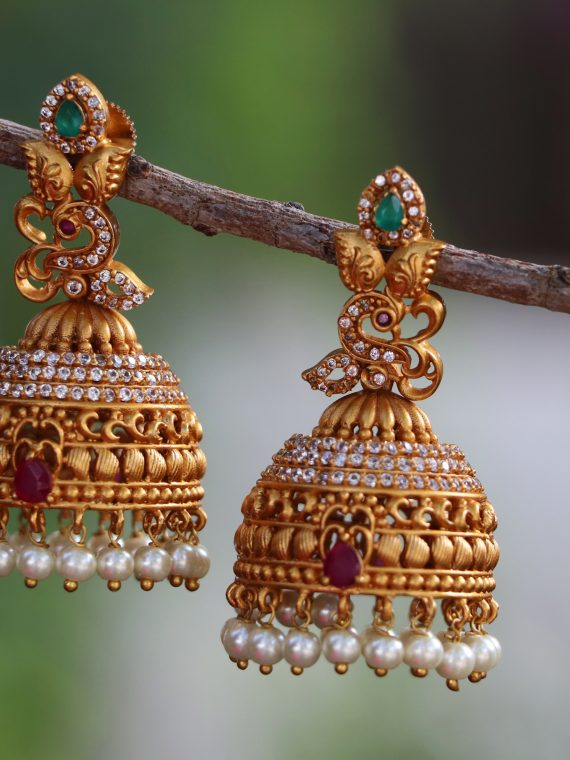 Light Weight One Gram Gold Jhumkas-01