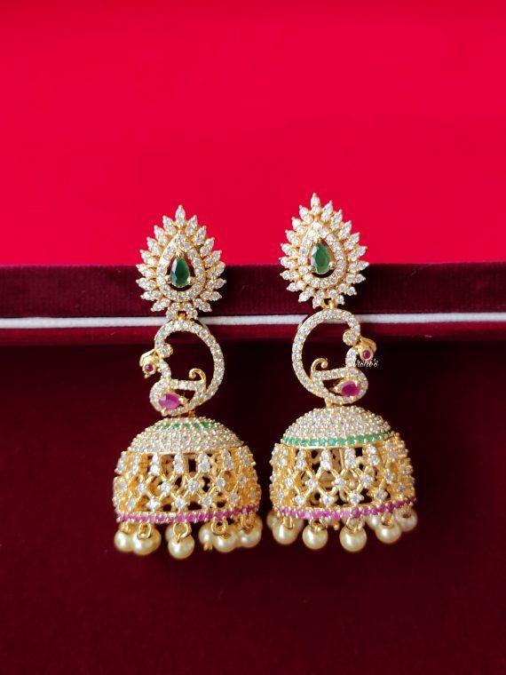 AD Stone Jhumka With Pearls