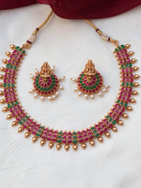 Antique Temple Choker With Jhumkas - 01