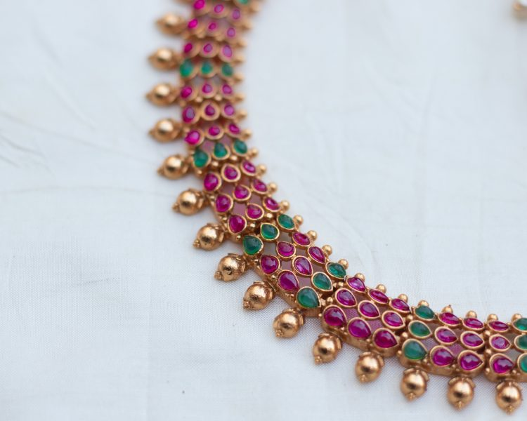 Antique Temple Choker With Jhumkas - 03