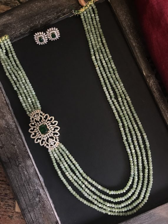 Green Beaded AD Stone Haram Set with Earrings - 01