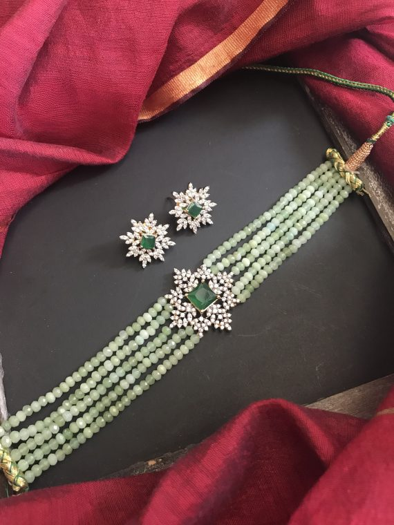 Green Beaded Choker Set - 01
