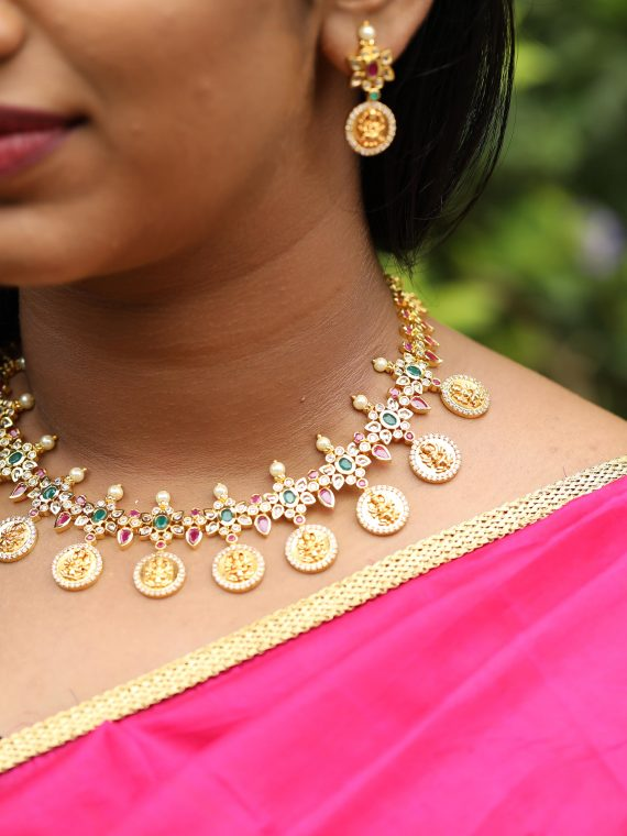 Lakshmi Coin Matte Polish Necklace Set - 01
