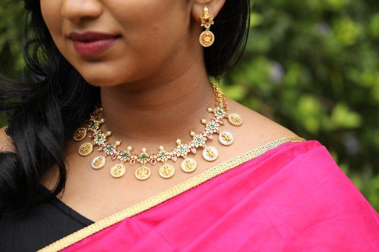 Lakshmi Coin Matte Polish Necklace Set - 01