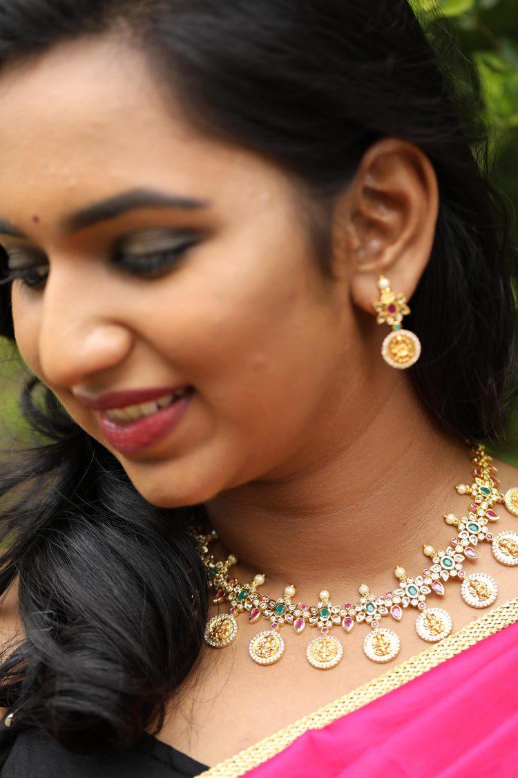 Lakshmi Coin Matte Polish Necklace Set - 02