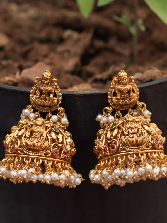 Lakshmi Jhumka with pearls