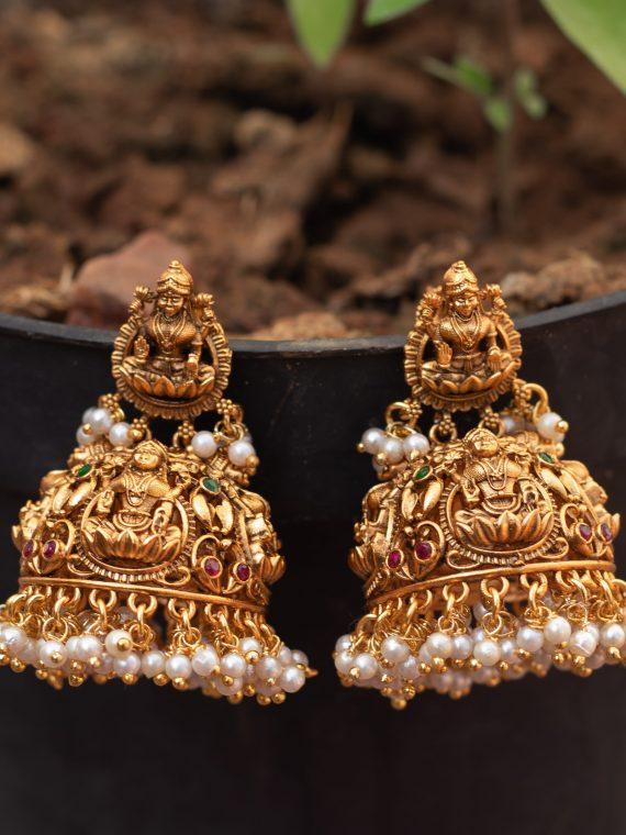 Lakshmi Jhumka with pearls