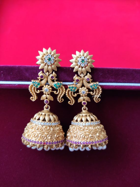 One Gram Gold AD Antique Jhumka