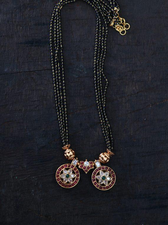One Gram Gold Black Bead Mangalsuthra -01