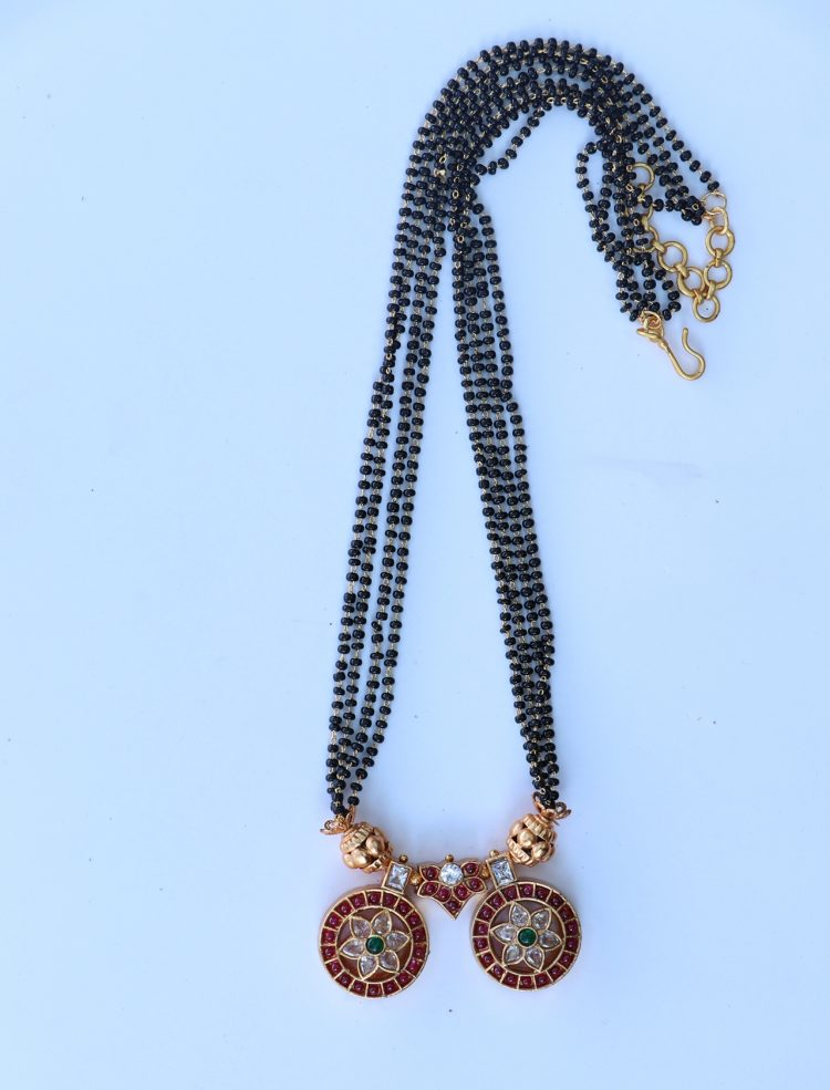One Gram Gold Black Bead Mangalsuthra - 01
