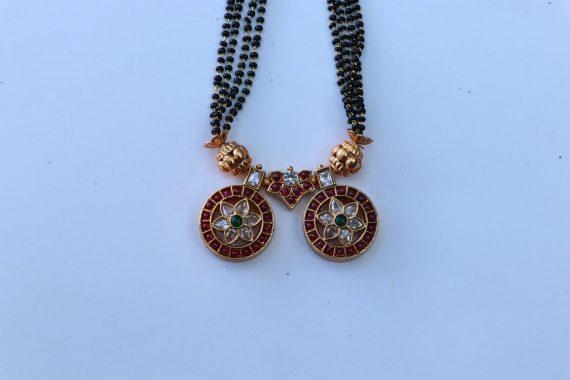 One Gram Gold Black Bead Mangalsuthra - 02