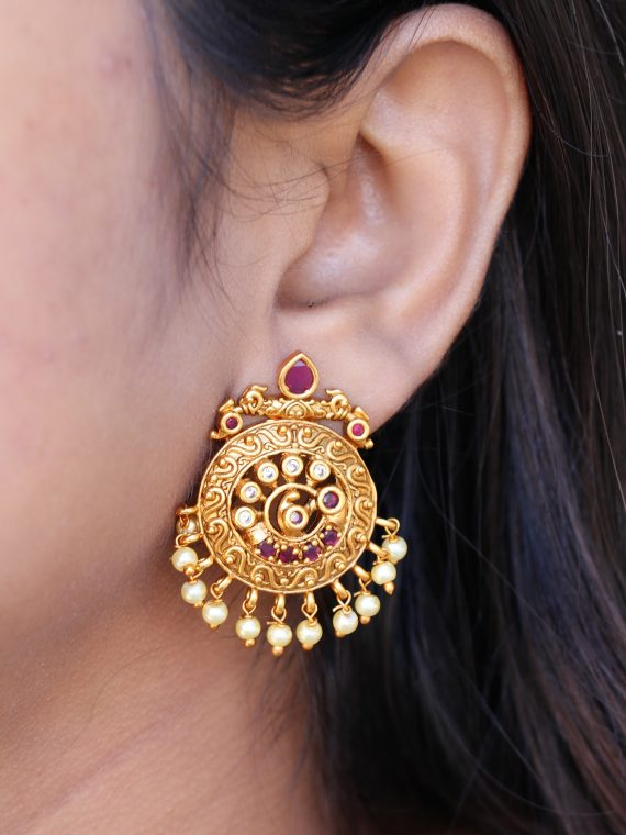 One Gram Gold Finish Lingh Weight Earings