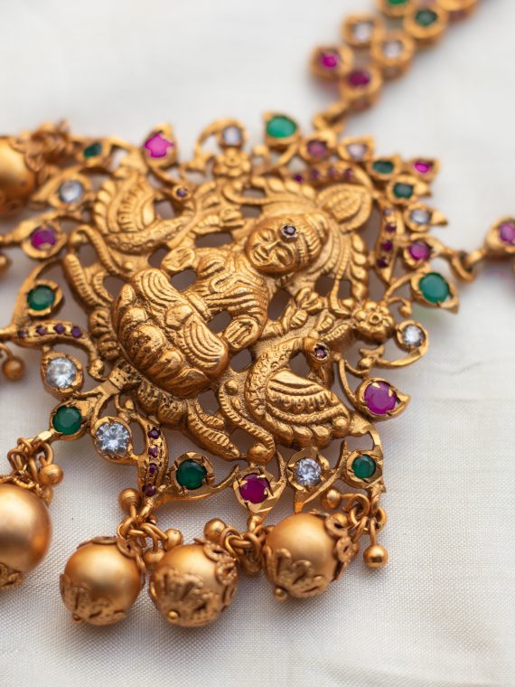 One Gram Gold Lakshmi Necklace With Earrings - 01