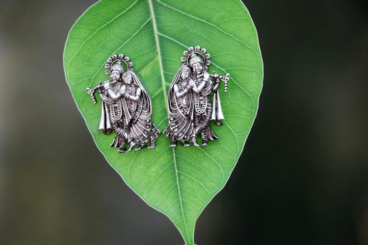 Radhe Krishna Silver Ear Stud - 01