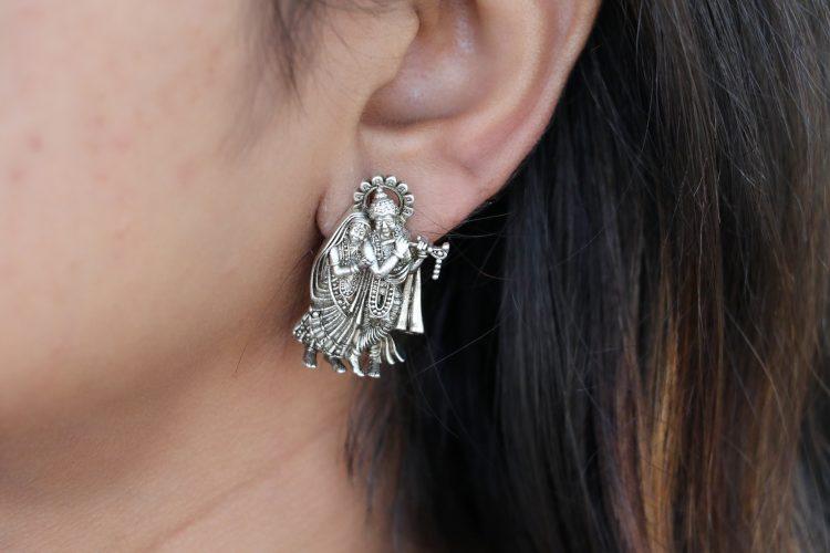 Radhe Krishna Silver Ear Stud - 02