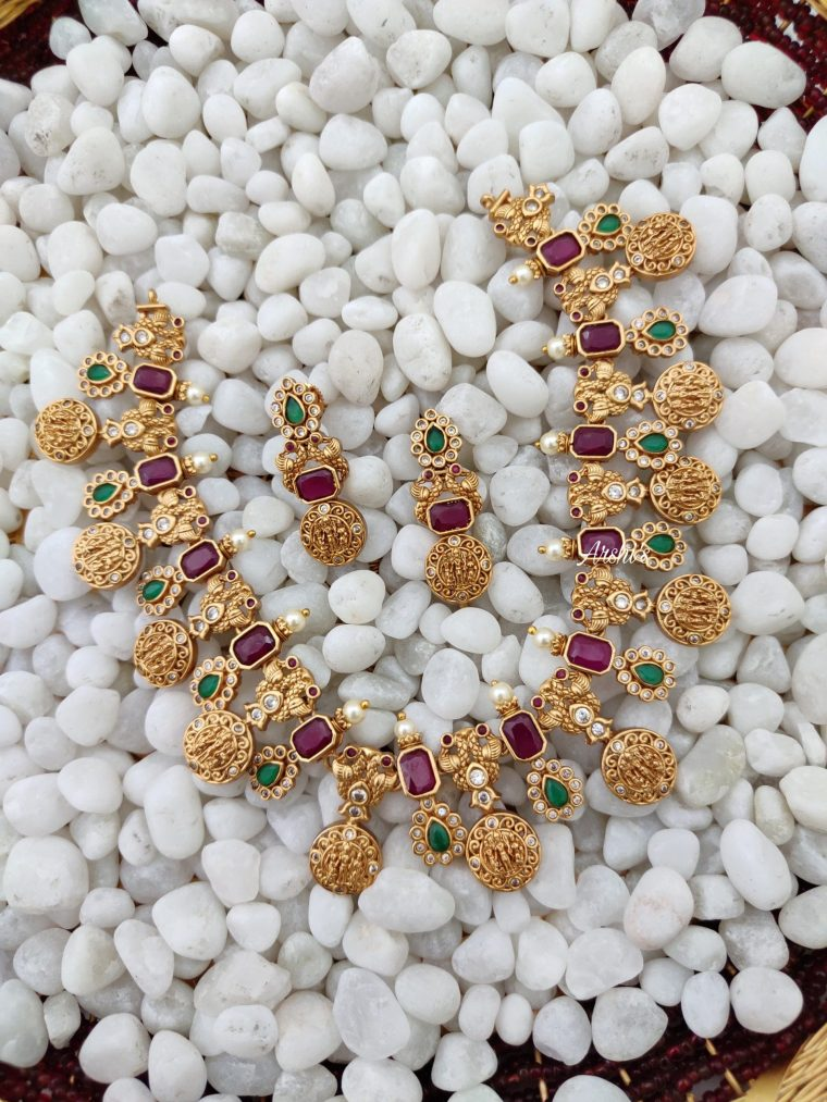 Rami Parivar Necklace With Ruby & Green Stones - 01