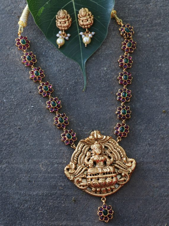 Real Kemp Stone lakshmi Pendant Stone Necklace- 02